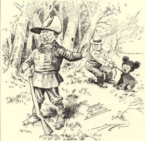 """11/16/1902 Washington Post cartoon by Clifford Berryman, """"Drawing the Line in Mississippi"""""""