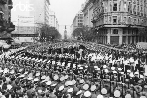 The Body of Eva Peron Being Carried Through the Honor Guard to the building of the General Labor Federation in Buenos Aires to Lie in State (Aug. 13, 1952)