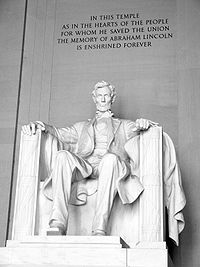 Lincoln statue within the Lincoln Memorial