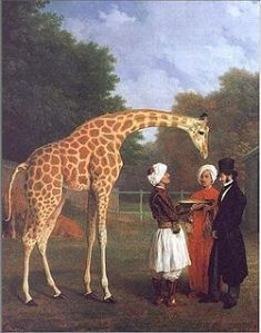 The Nubian Giraffe, by Jacques-Laurent Agasse (c.1827), depicts one of the three giraffes sent to Europe by Mehmet Ali Pasha. This one was received by George IV in London. The gentleman shown in the top hat is Edward Cross, operator of the menagerie at Exeter Exchange and then Royal Surrey Gardens. Also shown are the giraffe's Egyptian attendants, and, in the background, the Egyptian cows that supplied the young giraffe with milk.