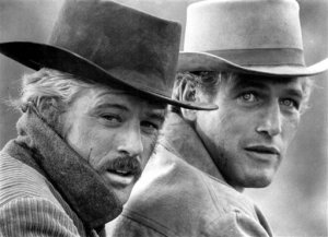 "A publicity shot from the 1969 American Western film, ""Butch Cassidy and the Sundance Kid,"" starring Robert Redford (left) and Paul Newman. Newman died in September of 2008 of cancer."