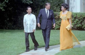 Ferdinand and Imelda Marcos with U.S. President Ronald Reagan