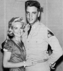 Private Presley with his first public girlfriend, Anita Wood from Memphis