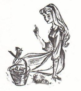 Tom Oreb's early drawings of Sleeping Beauty, influenced by Audrey Hepburn