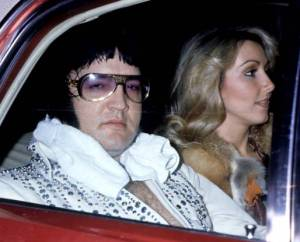 Elvis after a Las Vegas Concert, with Linda Thompson, March 21, 1976. His last concert would be the following December. He would then die of an overdose eight months after that, in August, 1977.