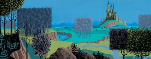 "The iconic castle from ""Sleeping Beauty,"" by artist Eyvind Earle for Disney"
