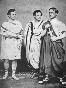 "Lincoln assassin John Wilkes Booth, Edwin Booth, and Junius Booth, Jr. appear in a production of Shakespeare's ""Julius Caesar,"" 1864"