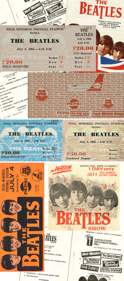 ticket stubs to the Beatles July 4, 1966 concerts in Manila