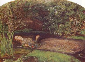"""Ophelia"" by John Everett Millais. Hamlet was in love with Ophelia, whose death by drowning may have been a suicide. In the play, Hamlet's mother, Queen Gertrude, laments her death, strewing her grave with flowers, and saying: Sweets to the sweet: farewell!"