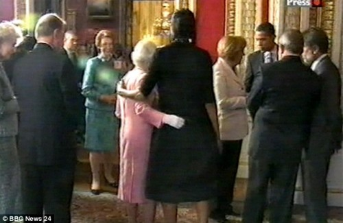 Queen Elizabeth and Michelle Obama at Buckingham Palace