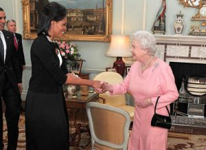 The Obamas being received at Buckingham Palace by Queen Elizabeth II