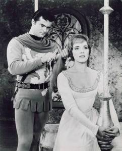 "Robert Goulet as Lancelot and Julie Andrews as Queen Guenevere in the 1960 Broadway production of ""Camelot"""
