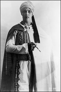 "Italian-born actor Rudolph Valentino in the 1921 silent film, ""The Sheik"""