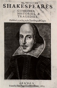 William Shakespeare as we have come to know him in Martin Droeshout's 1623 engraving for the First Folio