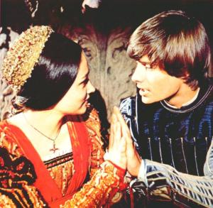 "Olivia Hussey and Leonard Whiting in Zeffirelli's 1968 film, ""Romeo and Juliet."" The scene is at the Capulets' ball, before Romeo and Juliet know each other's identity."