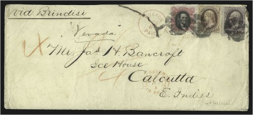 The 1873 letter bearing the scarce 90-cent Lincoln stamp