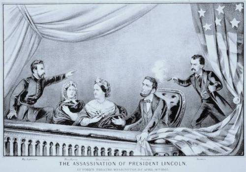 John Wilkes Booth assassinates President Abraham Lincoln at Ford's Theater in Washington, D.C., on April 14, 1865. The Confederacy had fallen five days earlier.
