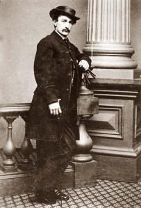 John Wilkes Booth, assassin of President Lincoln, 1838-1865. Born into a famous acting family, his father named him after an English rebel and encouraged in him an anti-establishment nature.