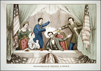 an image of the Lincoln assassination showing, from left to right, Clara Harris, Mary Todd Lincoln, Major Henry Rathbone, President Abraham Lincoln, and John Wilkes Booth