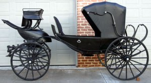 Abraham Lincoln's carriage that took him, Mary, Major Rathbone, and Clara Harris to Ford's Theatre on the night of his assassination. The carriage is a 4-passenger barouche. When the doors are opened, steps unfold.