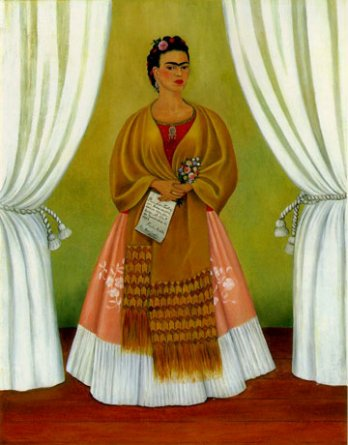 """Self-Portrait Dedicated to Leon Trotsky Between the Curtains,"" by Frida Kahlo, 1937"