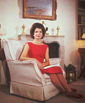 First Lady Jackie Kennedy at home in the White House. She is remembered for her love for all things French which found expression in her dedicated and loving restoration of the White House.