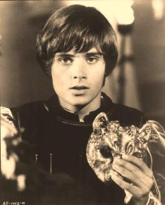 "Romeo wears a mask to disguise himself so he may enter his father's enemy's ball. Romeo is played with Leonard Whiting in Franco Zeffirelli's masterpiece film, ""Romeo and Juliet,"" made in 1968 with Olivia Hussey starring as Juliet"