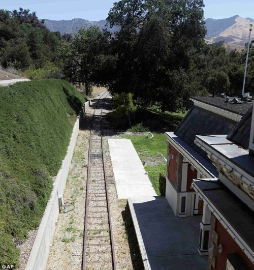 Neverland Ranch train tracks behind the station