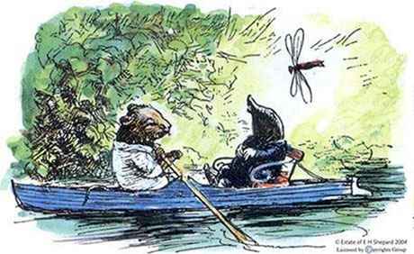 Ratty and Mole out boating from The Wind in the Willows by Kenneth Grahame, illustration by E.H. Shepard