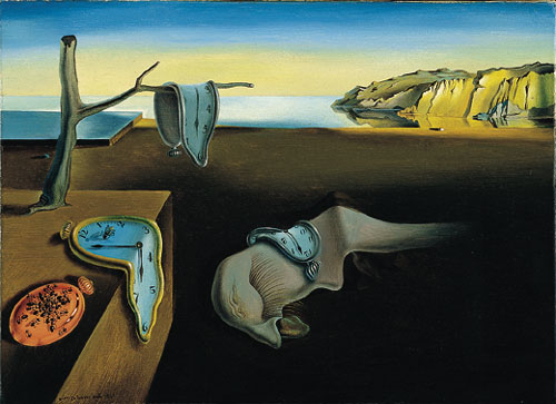 "Salvador Dalí's most famouse painting, ""The Persistence of Memory,"" 1931. His inspiration for the three melting watches came to him when he had a headache. His wife Gala had gone to the movies with friends and Dalí, ill, had stayed at home. He sat at the kitchen table for a long time, staring at the melting Camembert cheese. Before going to bed, he entered his studio and looked at the landscape he was working on - and decided to add three melting watches."