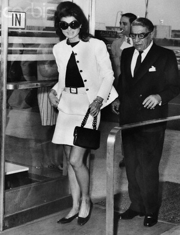 Jackie Kennedy Onassis with husband Ari Onassis on June 5, 1969, at New York's Kennedy Airport