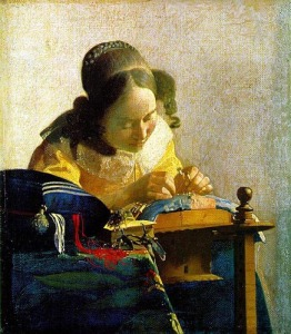 "Salvador Dalí found deep meaning in Jan Vermeer's painting, ""The Lacemaker"" (ca. 1669-70)"