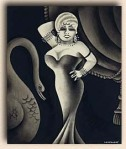 movie siren Mae West (1893-1980) by Miguel Covarrubias, 1928, for the New Yorker