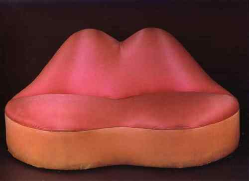 Dalí created The Mae West Lips Sofa (1937) in the same shocking-pink color introduced by fashion designer Elsa Schiaparellli