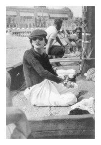 "Fashion designer Gabrielle ""Coco"" Chanel (French, 1883-1971) at Lido Beach in 1936"