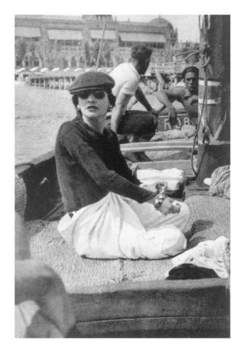 "Fashion designer Gabrielle ""Coco"" Chanel (French, 1883-1971) at Lido Beach in 1936"