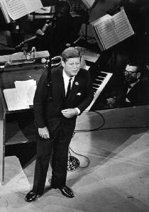 President John F. Kennedy speaks to the audience at Madison Square Garden at his 45th birthday bash, May 19, 1962.