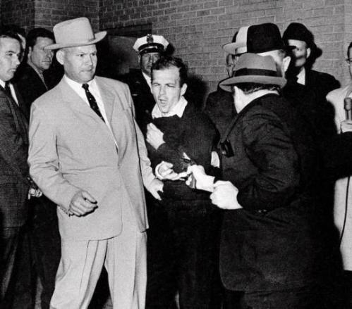 Lee Harvey Oswald shot by Jack Ruby in the basement of the Dallas Police Department, Sunday, November 24, 1963, 2 days after the Kennedy assassination.