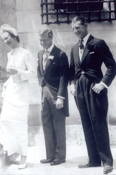 "Wallis and Edward with best man Edward ""Fruity"" Metcalf at their royal wedding, June 3, 1937, at the Chateau de Cande, Mont, France"