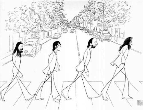 "The Beatles ""Abbey Road,"" drawing by Al Hirschfeld"