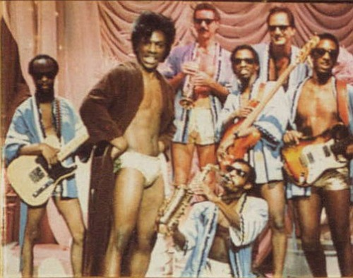 """Eddie Murphy impersonates """"the Godfather of Soul,"""" James Brown in a Saturday Night Live skit, """"James Brown's Celebrity Hot Tub"""""""
