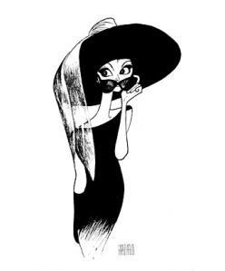 """Audrey Hepburn with Hat,"" drawing by Al Hirschfeld"