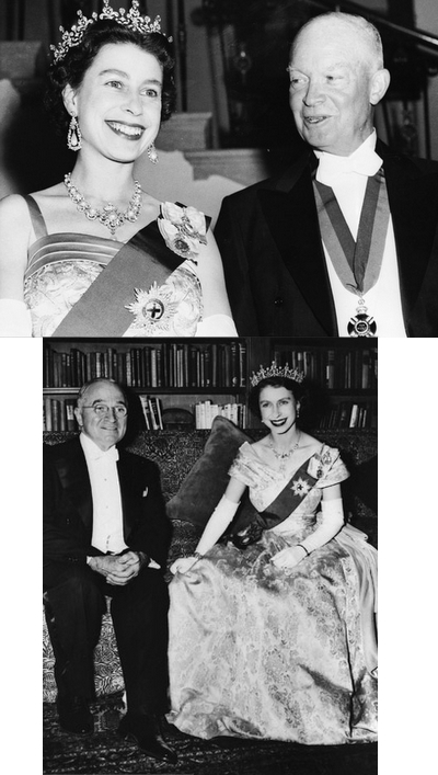 The Queen with Presidents Dwight Eisenhower (top) and Harry Truman (1950s)