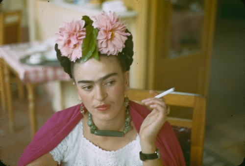 Frida Kahlo smoking,  photograph by her friend and lover Nickolas Muray, ca. 1940