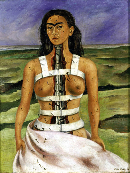 """The Broken Column,"" by Frida Kahlo (1944). This self-portrait shows the artist's spine as a broken Ionic column. Frida's health had deteriorated to the stage that she had to wear a steel corset."