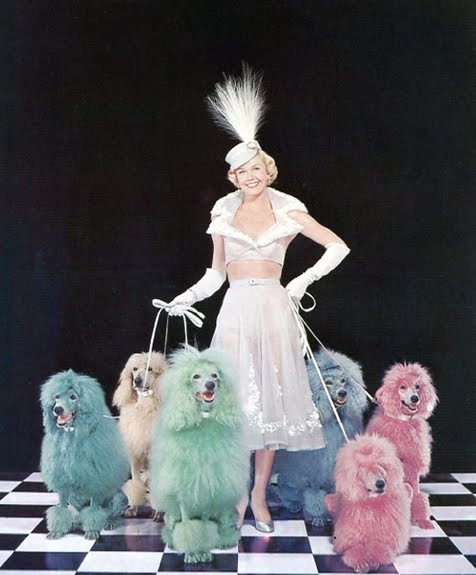 "To promote the film, ""April in Paris,"" Doris Day appeared on a 1952 Collier's magazine cover with six dyed poodles."