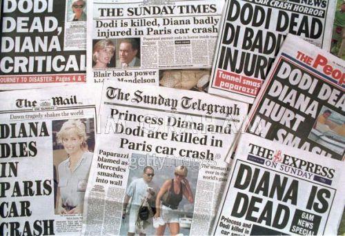 Princess Diana Car Crash Newspapers