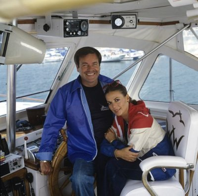 Robert Wagner and Natalie Wood aboard their yacht the Splendour. Undated photo.