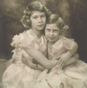 British Royal Princesses Elizabeth (l.) and Margaret Rose. February 1939, 7 months before the outbreak of WWII
