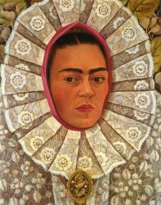 Frida Kahlo Self-Portrait, 1848, shows her dressed in traditional Tehuantepec costume.